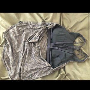 Open back Lulu Tank w/ attached Strappy bra